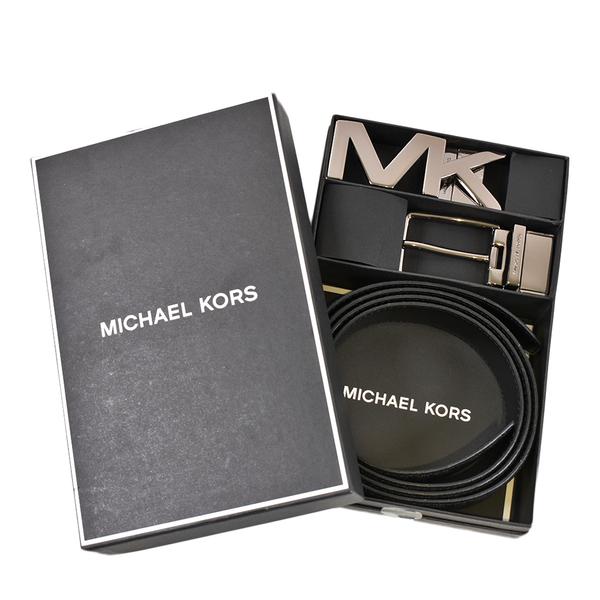 美國正品 MICHAEL KORS 男款 緹花LOGO大MK雙釦頭雙面用寬版皮帶禮盒組-黑色【現貨】