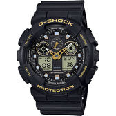CASIO 卡西歐 G-SHOCK 賽車運動雙顯手錶-金x黑 GA-100GBX-1A9DR / GA-100GBX-1A9