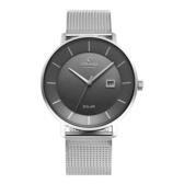 OBAKU 太陽能時尚環保鋼質腕錶-銀灰色