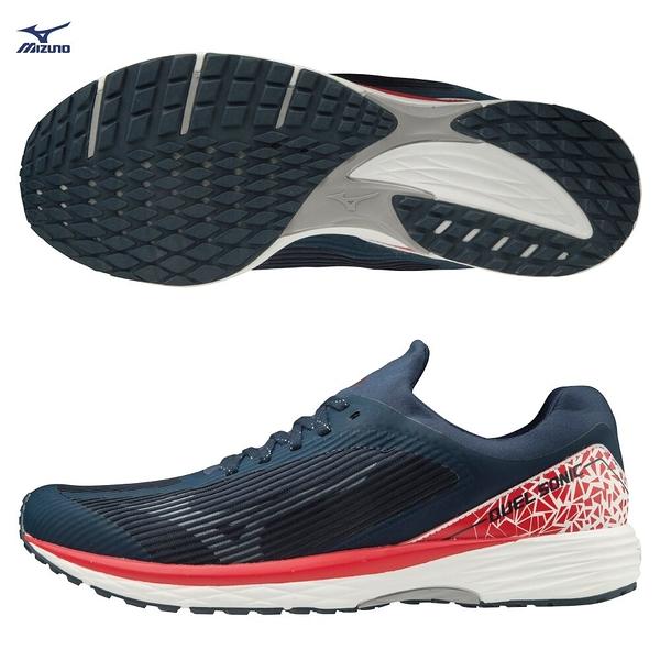 MIZUNO DUEL SONIC 男鞋 慢跑 路跑 耐磨 一般 高反發特性 藍 紅【運動世界】U1GD203418
