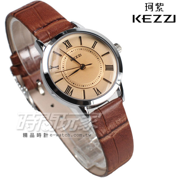 KEZZI珂紫 羅馬經典腕錶 皮革錶帶 女錶 漸層 咖啡色 KE994咖小