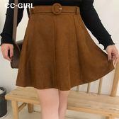 中大尺碼  秋款氣質A字短裙(附腰帶)~共兩色 - 適XL~5L《 67115L 》CC-GIRL