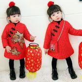 女童女寶寶旗袍冬裝中國風兒童保暖加絨加厚公主新年裝連衣裙唐裝