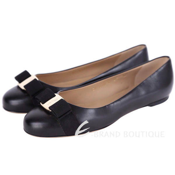 Salvatore Ferragamo VARINA 蝴蝶結飾牛皮娃娃鞋(黑色) 1320207-01