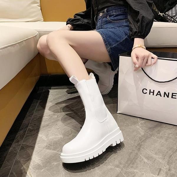 馬丁靴 夏季薄款馬丁靴女2021春秋單靴新款切爾西靴潮中筒厚底白色煙筒靴 夢藝家