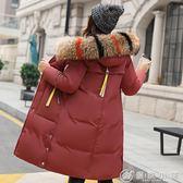棉衣 960#18羽絨棉服女修身中長款大毛領加厚大碼顯瘦棉衣外套 優家小鋪
