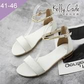 大尺碼女鞋-凱莉密碼-夏日時尚風金邊瑪莉珍真皮羅馬涼鞋2cm(41-46)【BY130-72】 白色