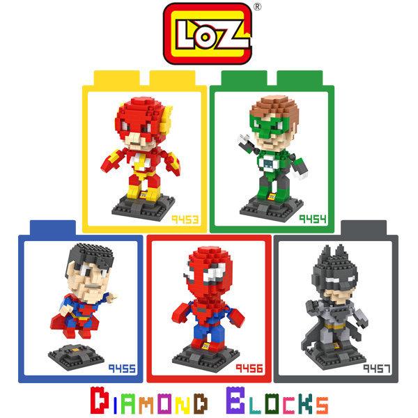 ☆愛思摩比☆ LOZ 鑽石積木 9453-9457 超級英雄系列 閃電俠 綠光戰警 超人 蝙蝠俠 蜘蛛人 大盒版