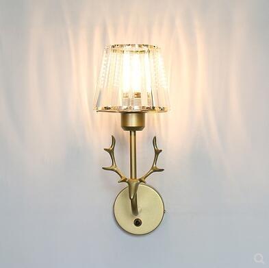 輕奢壁燈裝飾床頭壁燈現代簡約客廳背景牆燈北歐個性水晶鹿頭壁燈