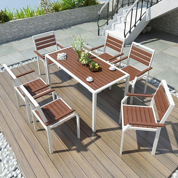 戶外桌椅 定制戶外桌椅庭院白色陽台小桌椅花園公園露天露台咖啡廳鐵藝塑木室外【快速出貨】