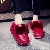 棉拖鞋女包跟厚底高跟皮質防水室內毛毛鞋秋冬季家用保暖棉鞋外穿 美眉新品