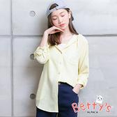 betty's貝蒂思 連帽抽繩淡格紋開襟上衣(淺黃)
