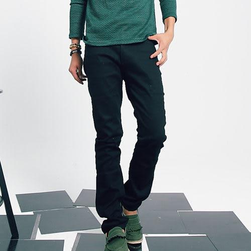 韓版合身素面小直筒褲