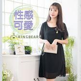黑色洋裝--低調華麗優雅圓領可愛鳳梨刺繡顯瘦飄逸雪紡洋裝(黑L-3L)-D483眼圈熊中大尺碼