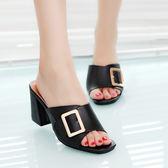 夏季新款正韓一字拖女士時尚高跟粗跟女鞋外穿涼拖鞋中跟百搭 两色35-39