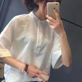 2018夏季新款正韓大碼寬鬆學生短袖襯衫女白色五分袖襯衣寸衣寸衫 全館八八折柜惠