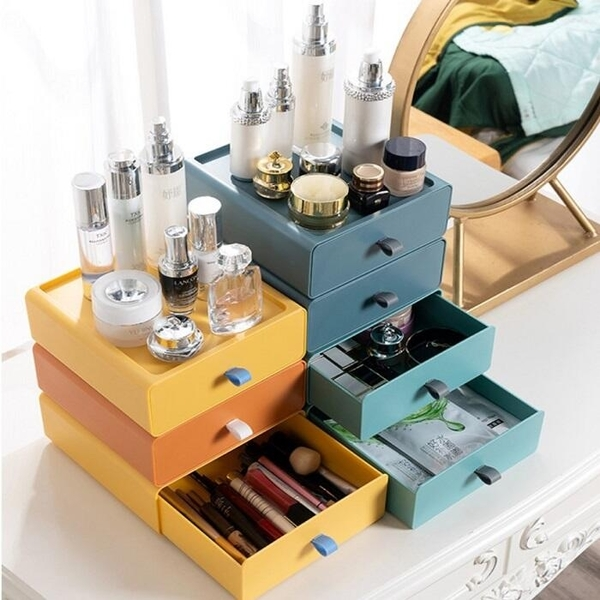 桌面收納盒SG894 抽屜式儲物盒子小箱辦公室書桌上化妝品收納盒置物架整理櫃文具收納盒