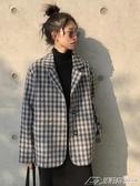 網紅格子小西裝外套女韓版復古學生長袖寬鬆西服上衣   潮流前線