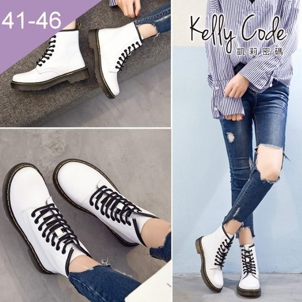 大尺碼女鞋-凱莉密碼-街頭經典時尚真皮8孔馬汀綁帶短靴3cm(41-46)【JM708-17】白色
