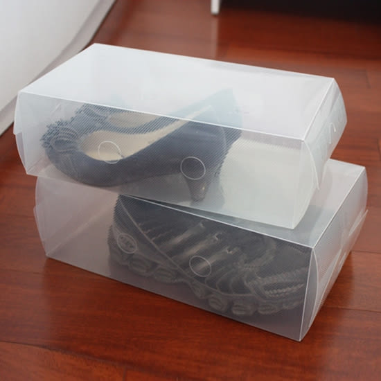✭米菈生活館✭【N166】DIY透明手提鞋盒 置物 儲物 雜物 可視 旅行 出差 收納 防塵 防汙