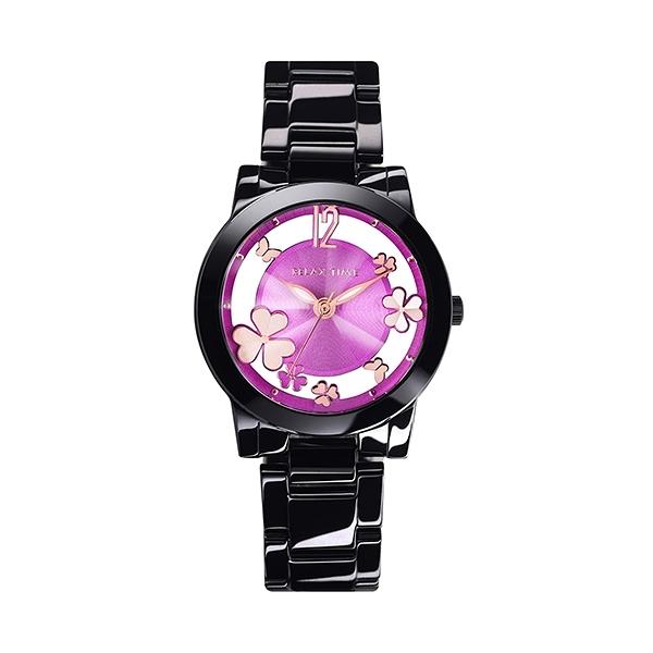 【Relax Time】Garden系列鏤空陶瓷時尚腕錶-繽紛紫/RT-80-10/台灣總代理公司貨享一年保固