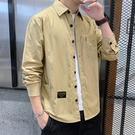 襯衫外套男 襯衫男長袖韓版潮流修身工裝帥氣寬鬆外套休閒襯上班純色【快速出貨八折下殺】