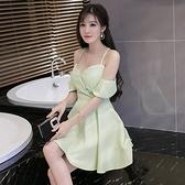 夏季新款小心機名媛顯瘦氣質性感吊帶露肩大擺洋裝禮服裙女 檸檬衣舍