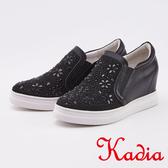 kadia.造型花朵水鑽內增高休閒鞋(0021-98黑色)