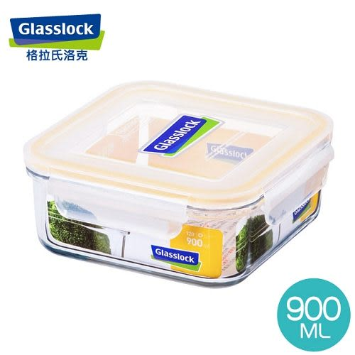 【GlassLock】強化玻璃微波保鮮盒 - 方形900ml (三入組)RP522*3
