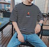 夏季短t條紋短袖T恤男韓版韓版日系清新寬鬆學生潮流圓領男女情侶款T 【好康八五折】