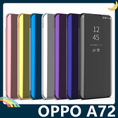 OPPO A72 電鍍半透保護套 鏡面側翻皮套 免翻蓋接聽 原裝同款 支架 手機套 手機殼 歐珀
