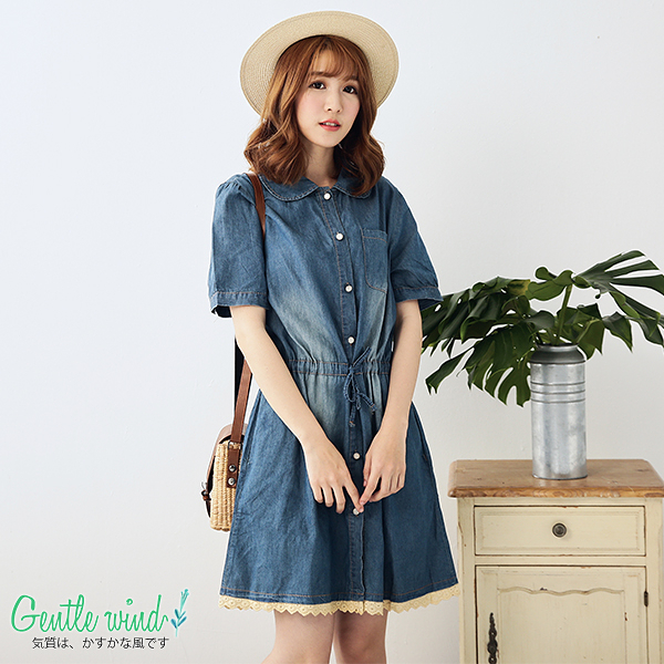 微醺色調單寧束腰洋裝(藍色)M-XL【Gentle wind 輕輕.吹】