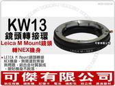 KW13 鏡頭轉接環【Leica M Mount 鏡頭 轉 NEX 機身】