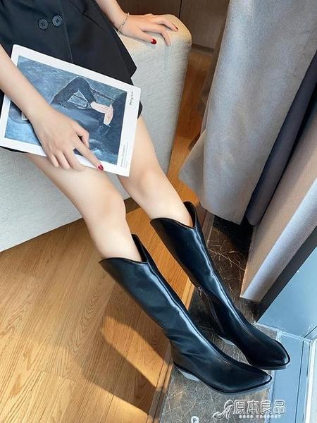 馬丁靴 網紅長靴高筒不過膝靴新款春秋季馬丁靴女尖頭粗跟時裝靴子【快速出貨】