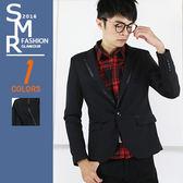 西裝外套-領邊皮絨長西裝-質男必備百搭款 《9997115》黑色『SMR』