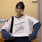 日系假兩件長袖t恤女寬鬆早秋上衣【愛物及屋】