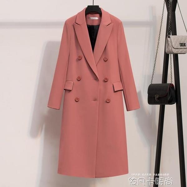 黑色西裝女外套2020新款韓版中長款雙排扣純色chic西服職業裝簡約 依凡卡時尚