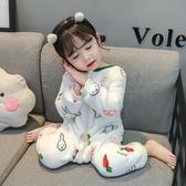 兒童連體睡衣冬季法蘭絨寶寶秋冬加厚珊瑚絨女童男童女小童嬰兒服 潮流衣館