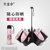 防曬防紫外線遮陽傘女太陽傘學生黑膠小清新兩用晴雨傘折疊 阿宅便利店
