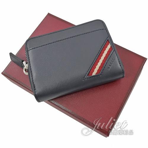 茱麗葉精品【全新現貨】BALLY 6222857 經典全皮革紅白織帶條紋零錢包.深藍