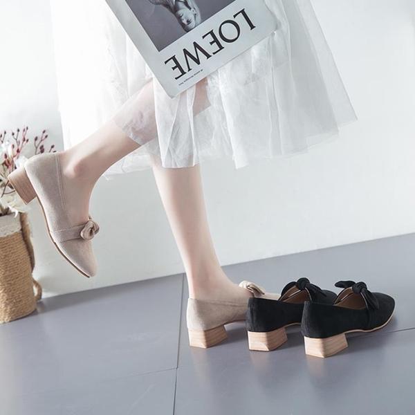 低跟鞋 法式名媛粗跟高跟鞋女2021新款蝴蝶結中跟晚晚鞋網紅百搭單鞋低跟  【618 大促】