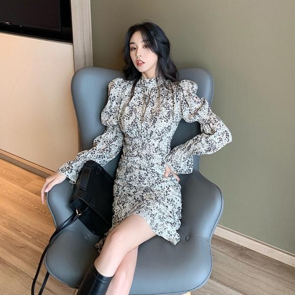 出清388 韓國風名媛立領碎花泡泡荷葉袖優雅長袖洋裝