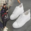帆布鞋 內增高小白鞋韓版松糕底系帶休閒