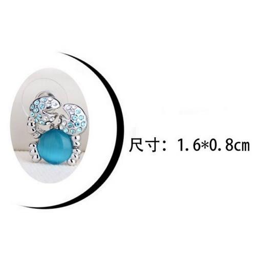 螃蟹水晶耳環 施華洛世奇水晶元素 耳釘 耳針 防過敏 奧地利水晶 生日禮物 沂軒精品 F0088