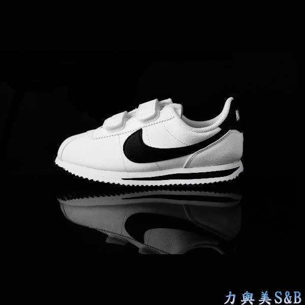 【幼童鞋】NIKE 童休閒慢跑鞋 經典阿甘系列 CORTEZ BASIC SL (PSV) 正白色鞋面+黑色LOGO 【7894】