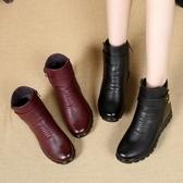 媽媽鞋冬季棉鞋中年女靴加絨保暖中老年老人平底防滑短靴大碼皮鞋 韓小姐的衣櫥
