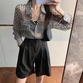 長袖襯衫 千鳥格防曬衣女2020新款夏季薄款港風設計感上衣寬松顯瘦長袖襯衫 曼慕衣櫃