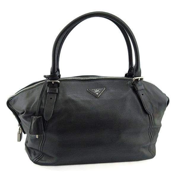 【奢華時尚】PRADA 黑色浮雕三角牌黑色牛皮肩背大波士頓包(九成新)#25161