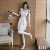 無袖V領蕾絲洋裝 新款女裝夏裝純色仙女裙中長款鏤空收腰性感連身裙 DR18001【彩虹之家】