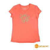 wildland荒野 女 RE印花棉感功能上衣『粉橘』0A51691 台灣製造 排汗透氣圓領T恤 T-shirt 運動服